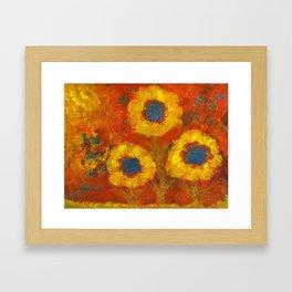 Sunflowers with a golden sun Framed Art Print
