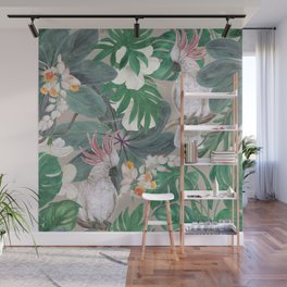 cockatoo birds and ginger, hibiscus flowers Wall Mural