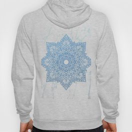Blue flower mandala - marble Hoody