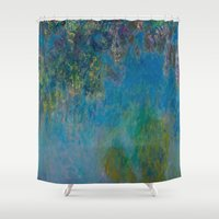 monet Shower Curtains featuring Claude Monet Wisteria by Elegant Chaos Gallery