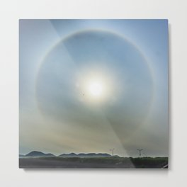 Plane in the Sun circle Metal Print