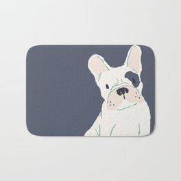 Cute French Bulldog (White w/ Spot) Bath Mat