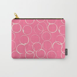 Circles Geometric Pattern Pink Antique White Carry-All Pouch