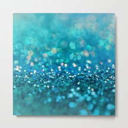 Aqua turquoise blue shiny glitter print effect- Sparkle Luxury Backdrop Metal Print