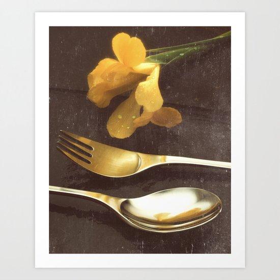Flowers on Slate, variation 3 Art Print