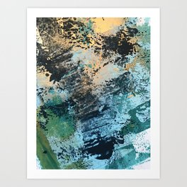 Reflection: an abstract ocean scene in blues, greens, and gold Art Print