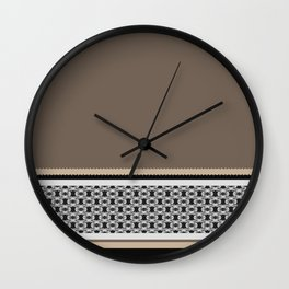 Taupe Linen Black With Pattern Wall Clock