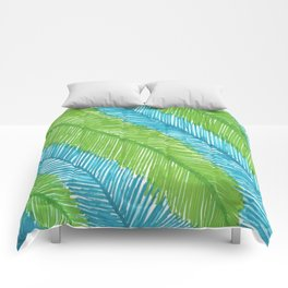 Blue and Green Palm Leaves Comforters