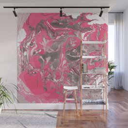 Pink and gray Marble texture acrylic paint art Wall Mural