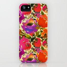 Elegant neon pink lavender orange watercolor floral iPhone Case