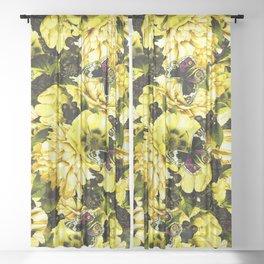 night and day flowers butterflies pattern dark yellow Sheer Curtain