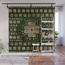 Golden Irish Shamrock Four-leaf clover Wall Mural
