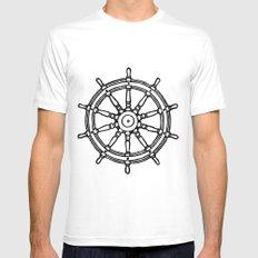 Ship's Helm - Captain's Wheel - Rudder White MEDIUM Mens Fitted Tee