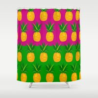 pineapples Shower Curtains featuring Pineapples by The Wallpaper Files