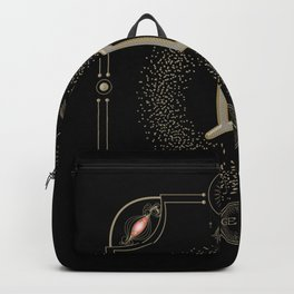 Golden zodiac germini sign Backpack