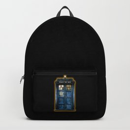 Beautiful tardis with yellow stained glass windows Backpack