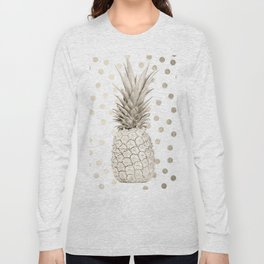 Gold Pineapple Polka Dots 1 Long Sleeve T-shirt