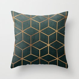 Dark Teal and Gold - Geometric Textured Gradient Cube Design Throw Pillow