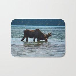 Mother moose and calf in Jasper National Park Bath Mat