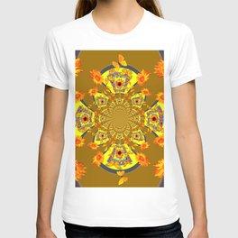 ABSTRACT SUNFLOWERS & BUTTERFLIES KHAKI ART T-shirt