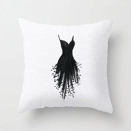 Little Black Fringe Dress Throw Pillow