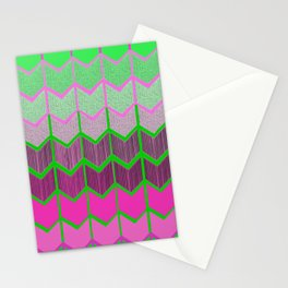Contemporary Tribal Arrows - Pink Lime Green Stationery Cards