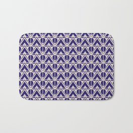 Mountains And Suns Indigo Blue Light Beige Bath Mat