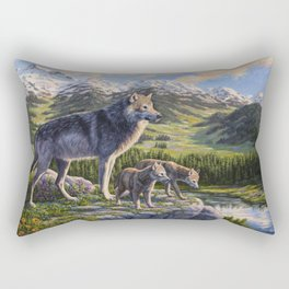 Mother Gray Wolf and Pups River Valley Rectangular Pillow