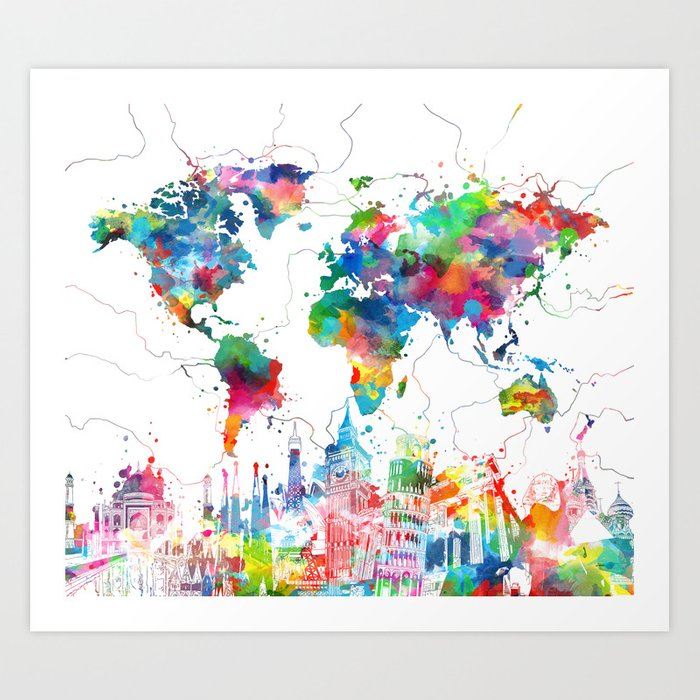 World map watercolor collage art print by bekimart society6 world map watercolor collage art print gumiabroncs Choice Image