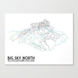 Big Sky, MT - Northern Exposure - Minimalist Trail Map Canvas Print