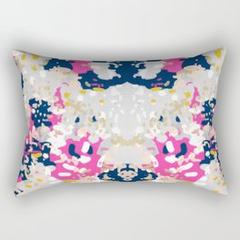 Michel - Abstract, girly, trendy art with pink, navy, blush, mustard for cell phones, dorm decor etc Rectangular Pillow