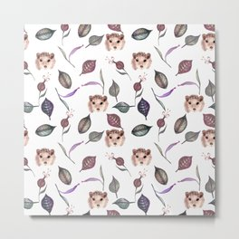 Autumn hedgehogs and leaves pattern Metal Print