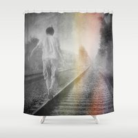 train Shower Curtains featuring Train path. by Viviana Gonzalez