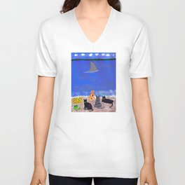 Cats on the Beach Unisex V-Neck