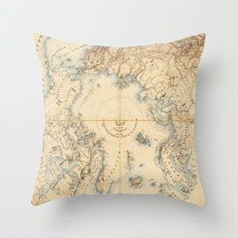 Map of the Arctic and Adjacent Regions (1855) Throw Pillow