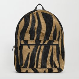 Tiger Faux Fur Texture black abalone and gold Backpack
