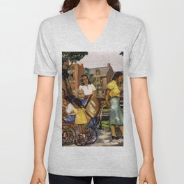 African American Masterpiece 'Sunlight and Shadow' by A. Crite Unisex V-Neck