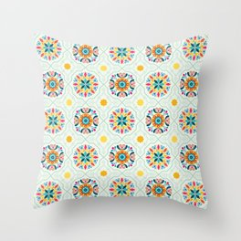 Cheery Modern Moorish Tiles in Minty Moroccan Green Throw Pillow