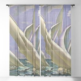 American Masterpiece 'Racing in Newport - America's Cup' by G. Foster Sheer Curtain