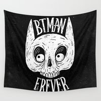 bat Wall Tapestries featuring Bat skull by Lime