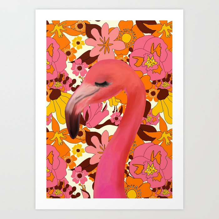Flamingo with Retro Nz Floral Art Print