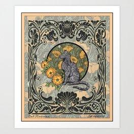 Cat Nouveau Art Print
