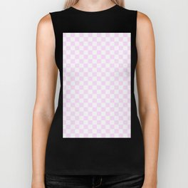 Small Checkered - White and Pastel Violet Biker Tank