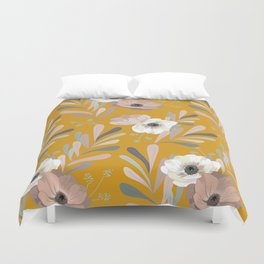 Anemones & Olives Yellow Duvet Cover