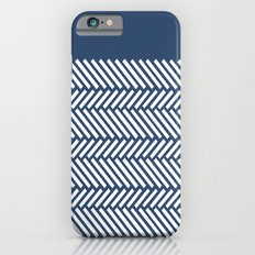 Herringbone Boarder Navy Slim Case iPhone 6s