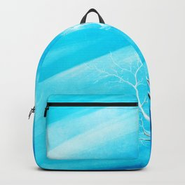 Big white leafless tree blue background Backpack