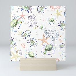 Blue Fin Crabs, Sand Dollars, Starfish + Sea Glass, Sunlit Colors -Watercolor + Ink, Woven Texture Overlay Mini Art Print