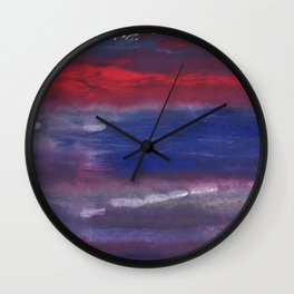 Red Blue nebulous watercolor Wall Clock