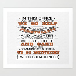 In this office we do teamwork Inspirational Typography Quote Design Art Print