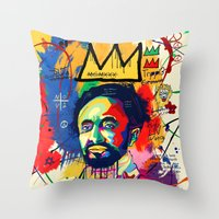basquiat Throw Pillows featuring Selassie Basquiat by qlion
